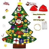 🎄Kit di aggiornamento: 33 ornamenti per albero di Natale in feltro staccabili da parete che mettono in risalto il tema natalizio. 🎄Materiali di alta qualità: l'albero di Natale fai-da-te per bambini è realizzato in tessuto di feltro di alta qualità,l...