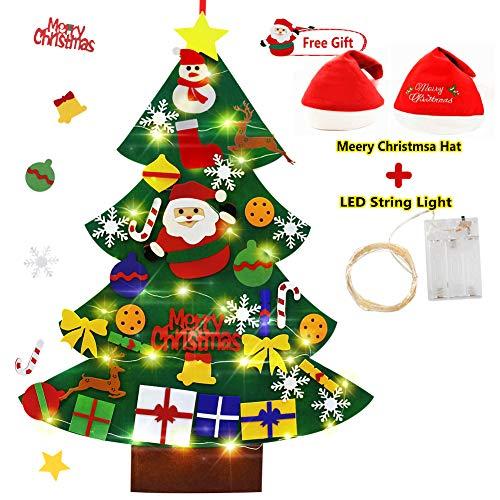 Smart Nice Feltro Albero Natale in Velcro,3.28ft della Feltolta di DIY con 33 Ornamenti Staccabili Regali di Natale Nuovo Anno Decorazione della Parete del Portello dei Bambini (Felt Christmas Tree)