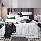 yaonuli Einfache Single Double Bettbezug Trampolin einfache Baumwolle vierteiliges Set reinweiß...