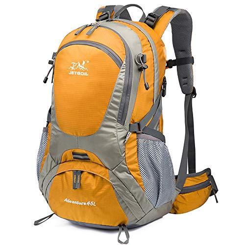 Mochila de Senderismo, Chickwin 45L Mochila de Montañismo Multifuncional Impermeable Mochilas para Mochileros Deportes al Aire Libre Excursionismo Escalada Trekking Acampada (Naranja,51 * 23 * 32cm)