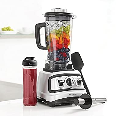 BlendWorks All-In-One, High Speed, Industrial Strength Blender Set (Includes: 70oz Container, Tamper, Spatula, Measuring Lid, 20oz to-go Smoothie Cup), Silver/Black, Professional, 1500 Watts, 2.0 HP