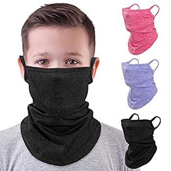 MoKo Kids Neck Gaiter Face Mask 3 Pack Scarf Bandana Mask with Ear Loops for Kids Balaclava Sun Protection Dust Wind Proof Children Cycle Skating Bandanas for Girls Boys Black+Light Purple+Magenta