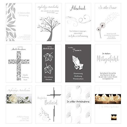 Edition Seidel Set 12 einfühlsame Premium-Trauerkarten mit Silber-Prägung/Beileidskarten mit Umschlag. Trauerkarte Beileidskarte mit Spruch (Doppelkarten/Klappkarten mit Briefumschlag (20194))