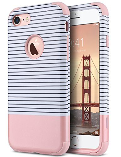 ULAK iPhone 7 Hülle, 3 in 1 Hybrid Stoßfest Handyhülle Hart PC + Weiche Silikon Schutzhülle Tasche Case Cover für Apple iPhone 7 4,7 Zoll - Roségold Streifen