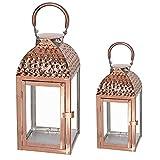 Mojawo Traumhaftes 2er Set Luxus Gartenlaterne Edelstahl Rosegold/Kupferfarben Windlicht Laternen Set Höhe 35/46cm Edel Design