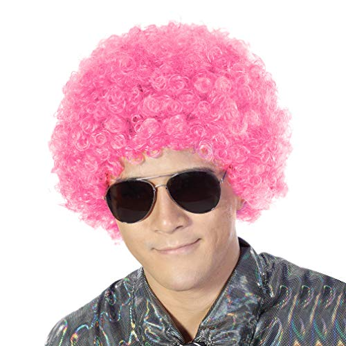 Fluffy Afro Synthetic Clown Wig for Men Women Cosplay Anime Party Christmas Halloween Fancy Funny Wigs (Pink)