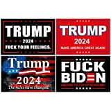 4-Pack Trump 2024 Bumper Sticker Decal, Save America Great Again Decal- I'll BE Back Decals for Laptop Car Bumper Window Decorations,Vivid Color and UV Fade Resistant Diameter 4x6'