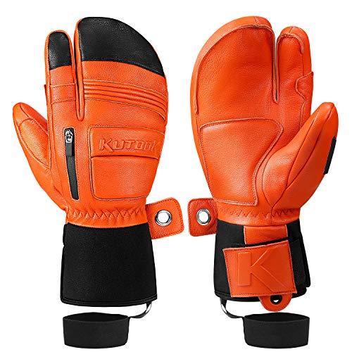KUTOOK Winter Three Fingers Ski Mittens Genuine Leather Thermal 3M Thinsulate Waterproof Snowboarding Gloves with Pocket Orange Medium