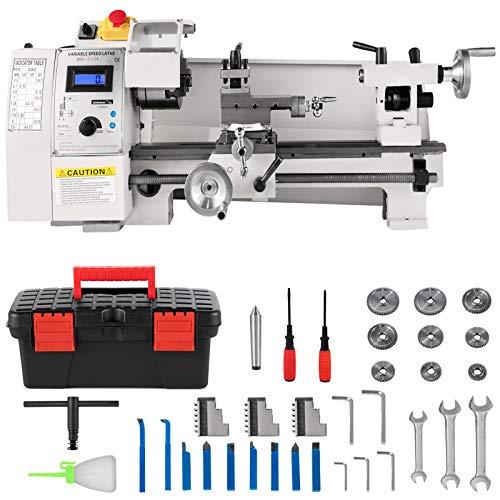 VEVOR Mini Torno Metálico 210 x 350 mm, Máquina de Torno con Husillo Cónico MT3, Mini Torno Máquina 2250 PRM de Velocidad Variable, Mini Torno de Precisión 650 W, Torno de Trabajos para Metal