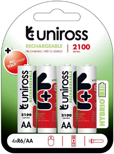 Uniross 4 x Hybrio Rechargeable 2100mAh AA Multi Usage Long Life Batteries