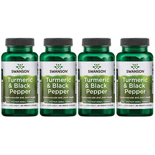 Swanson Turmeric and Black Pepper Organic Antioxidant Joint Cardiovascular Liver Detox Support Supplement Better Absorption Curcuma Longa 600 mg Piper nigrum 5 mg per Serving 60 Veg Caps (4 Pack)