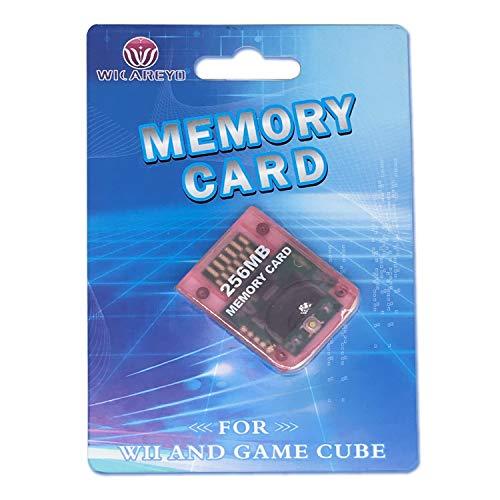 WiCareYo Klar rosa 256M Memory Card Speicherkarte für Wii NGC Gamecube Konsole