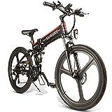 JINGJIN Bicicleta Eléctrica Plegable de motorreductor sin escobillas 48V 10Ah, Batería Extraíble para Adultos, Velocidad Máxima de Viaje de 35 km/h, Kilometraje en Modo Pas 40-80 km/h,Black-B