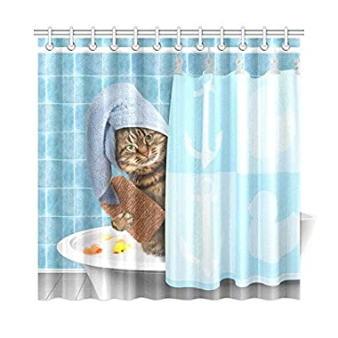 INTERESTPRINT Funny Bathing Cat Home Decor,Cute Animals Polyester Fabric Shower Curtain Bathroom Sets 72 X 72 Inches