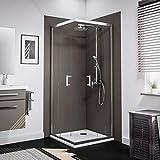 Schulte accès d'angle droit, portes de douche coulissantes + parois, verre transparent, profilé aspect chromé, 90x90x190 cm