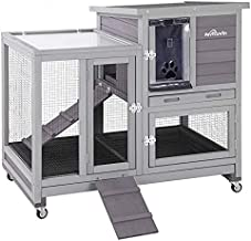 Upgrade Rabbit Hutch Rabbit Cage Indoor Bunny Hutch with Run Outdoor Rabbit House with Two Deeper No Leak Trays - 4 Caster...