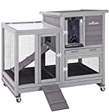 Aivituvin Upgrade Rabbit Hutch Rabbit Cage Indoor Bunny Hutch with Run Outdoor Rabbit House with Two Deeper No Leak Trays - 4 Casters Include (Grey)