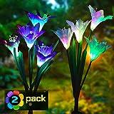 Solarleuchte Garten, Swonuk 2 Stück Solar Garten Lampen 4 Kopf Lilien Blumen Solarlicht mit...