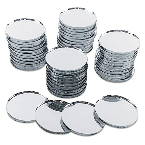 Mini 1' Inch Small Round Glass Mirror Circles for Arts & Crafts Projects, Traveling, Framing, Decoration (50 Pieces)
