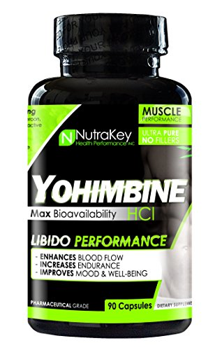 NutraKey Yohimbine HCL Supplement - Max Strength - Natural Metabolism Booster for Weight Loss, Energy and More. for Men and Women - 90 Capsules
