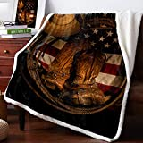 Sherpa Fleece Throw Blanket 39 x 49 Inches Retro Western Cowboy Fuzzy Soft Flannel Blanket Reversible Ultra Luxurious Plush Blanket for Bed Couch Sofa- Hat with Boots Rope on American Flag