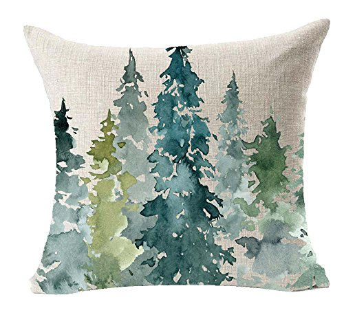 LYN Cotton Linen Square Throw Pillow Case Decorative Cushion Cover Pillowcase for Sofa 18'X 18' Lyn-82 (74)