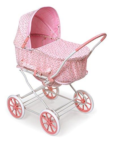 Badger Basket Pink Rosebud 3-in-1 Doll Pram, Carrier, and Stroller (fits American Girl Dolls)