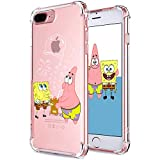 "Coralogo for iPhone 7 Plus/ 8 Plus TPU Case, 3D Cute Cartoon Funny Design Character Protective Kawaii Fashion Fun Cool Cover Skin Teens Kids Girls Cases for iPhone 8 Plus/ 7 Plus 5.5"" (Sponge Patrick"