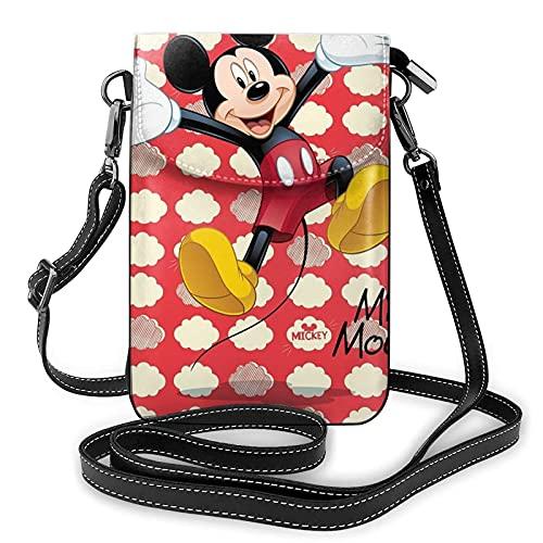 Bolso bandolera para mujer, diseño de Mickey Mouse con ranuras para tarjetas de crédito