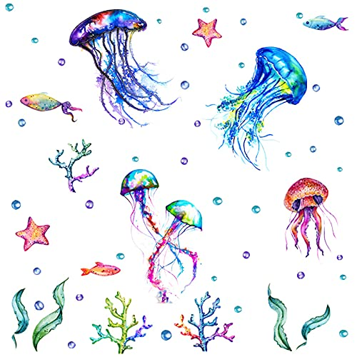 Ocean Wall Decals - MLM Watercolour Under The Sea Wall Decals Removable Jellyfish Starfish Coral Wall Stickers for Kids Bathroom Livingroom Bedroom Playroom Nursery