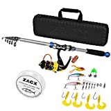 ZACX Telescopic Fishing Rod and Reel Combos Full Kits, Spinning Fishing Gear Pole Sets with Line Lures Hooks and Premium Portable Case for Sea Saltwater Freshwater, Fishing Gifts for Men (7.87)