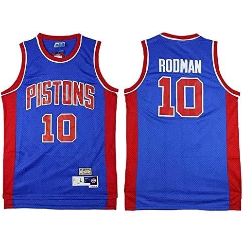 XSJY Hombres Jersey - NBA Detroit Pistons # 10 Dennis Rodman Clásico Retro Jerseys, Transpirable Wearable Camiseta Bordada Ventiladores para Los Deportes Al Aire Libre Y Ocio,B,XXL:185~190cm/95~110kg