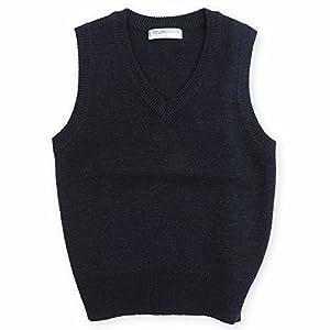 ASHBERRY (アッシュベリー) スクールVベスト/ウール30%混ニット/キッズ男女兼用/無地/紺/洗濯OK(11000) 160cm