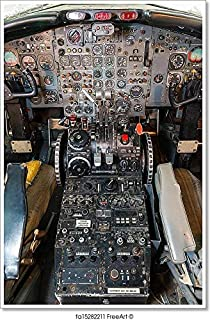 Barewalls Cockpit Airliner View, Outdated Equipment Paper Print Wall Art (42in. x 28in.)