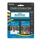 BAZIC Colored (12 Pcs) + White (12 Pcs) Chalk + Premium Chalkboard Eraser Bundle, Non-Toxic Kids Art Office Classroom Store Home, 1-Pack