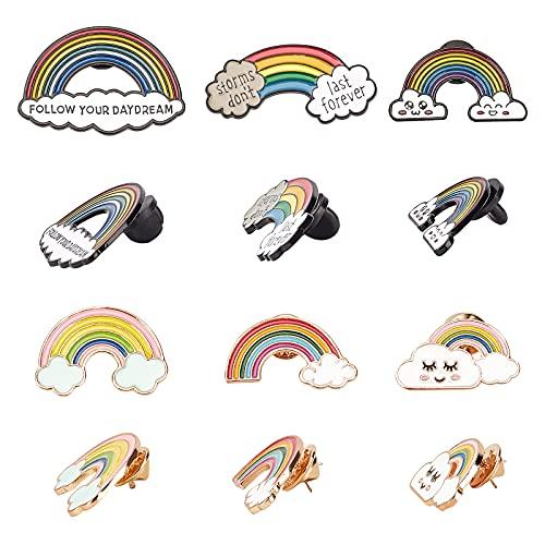 CHGCRAFT 12 Piezas 6 Estilos Pin de Solapa Arcoíris Bonitos Broches de Aleación de Zinc Dibujos Animados Nubes Arco Iris Esmalte Broches Insignias Regalos de Accesorios de Ropa