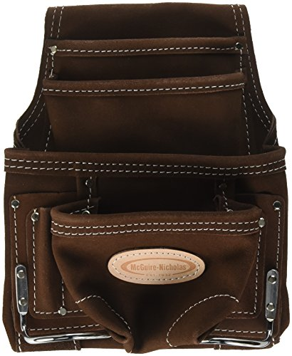 McGuire-Nicholas 10 Pocket Carpenter's Pouch | Premium Leather Nail & Tool Bag with Reinforced Wear Points