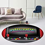 "Arcade Games Modern Round Area Rug, Arcade Machine Retro Game Fun Joystick Buttons Vintage 80s Electronics Floor Mat with Dot Plastic Non-Slip Bottom, Diameter 27"" Multi"