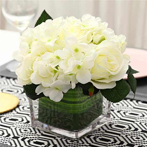 Fule Artificial Silk Rose Flower Centerpiece Arrangement in vase for Home Wedding Decoration (Spring White)