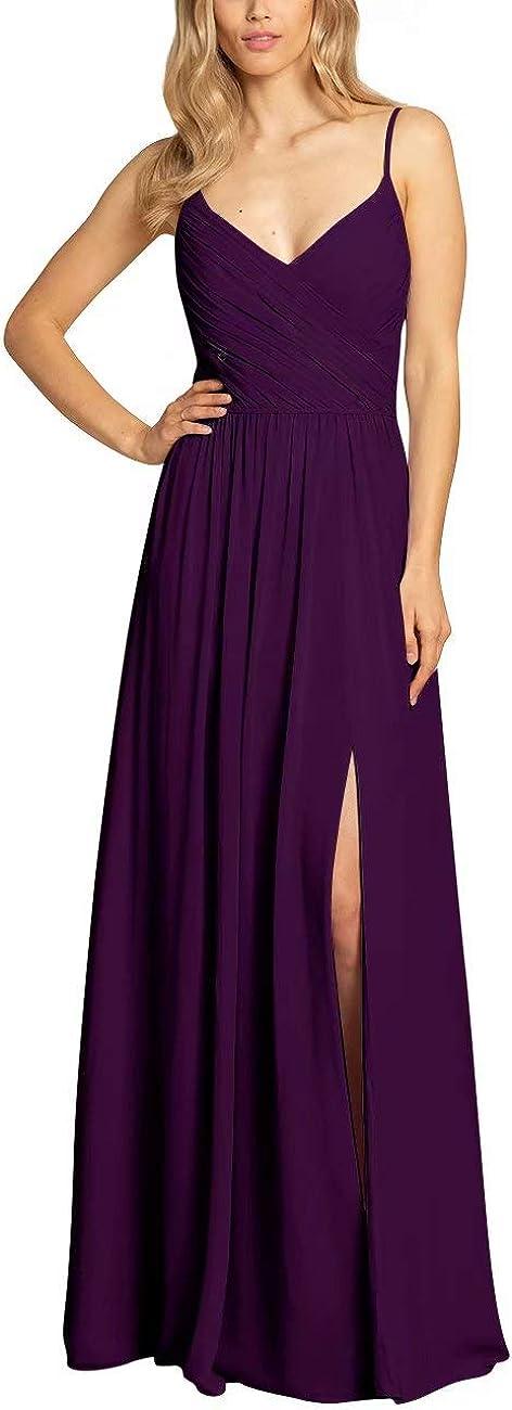 RJOAM High Side Slit Women's Direct Max 79% OFF stock discount Ope Dresses Long Chiffon Bridesmaid