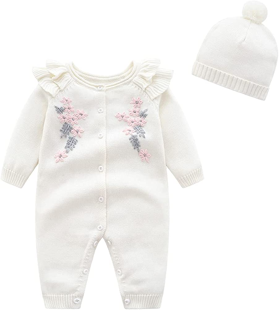 Newborn Infant Baby Boy Girl Knitted Sweater Romper Warm Longsleeve Jumpsuit Outfit with Warm Hat Set