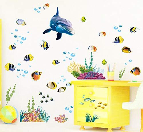 Ppooo Delphin Fisch Aquarium Ozean Wandaufkleber Für Kinderzimmer Badezimmer Küche Wohnkultur Cartoon Tiere Abziehbilder Pvc Wandkunst