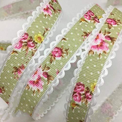 5Y 1.5 - 2.5cm Cinta en relieve con estampado de flores para manualidades hechas a mano Pascua Matrimonio Fiesta Álbum de recortes Deco Regalo Embalaje floral-China, UR182-4 (2cm), 5 yardas