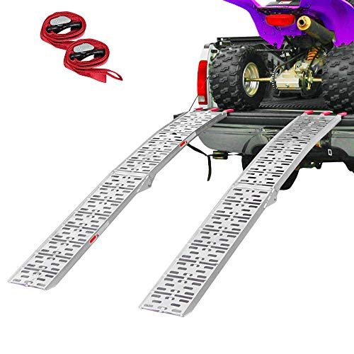 "Clevr 7.5' Set of 2 Folding Arched Aluminum Truck Ramps for ATVs, UTVs, Motorcycles, Dirt Bikes, 4 Wheelers, Lawnmowers, 90"" Long, 1,500 lbs Capacity"