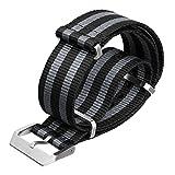 Bracelet de Montre ZULUDIVER Nylon NATO Rayures Noir/Gris, Brossé, 20mm