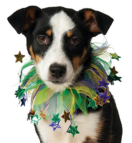 Rubie's Fancy Mardi Gras Stars Pet Collar, Medium/Large, Multicolor