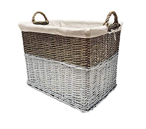 topfurnishing Shabby Chic White Wicker Storage Log Hamper Laundry Basket With Handles (Large 53 x 39 x 44 cm)