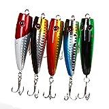 Demiawaking 5pcs Popper esche da pesca 5colori 10g alta acciaio al carbonio gancio esca affrontare