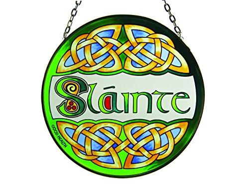 Slainte Round Stained Glass Window Hang Irish Suncatcher