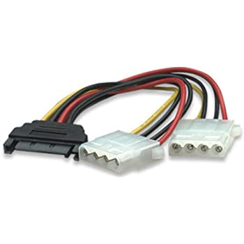 "Blacell 6"" SATA 15-Pin Male to Dual 4-Pin Molex Female Y Splitter, 308977"